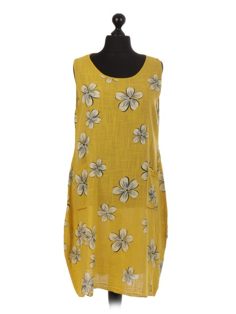 Italian Floral Print Lagenlook Dress With Pockets