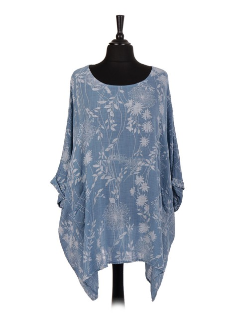 Italian Floral Print Plus Size Cotton Tunic Top