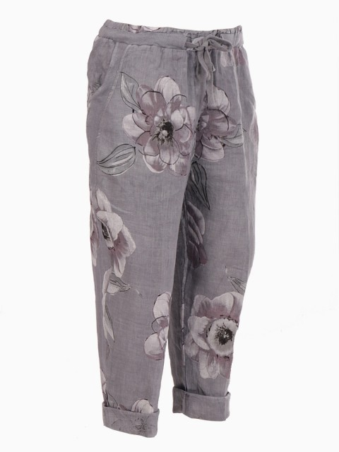 Italian Floral Print Ribbed Side Pockets Linen Trouser