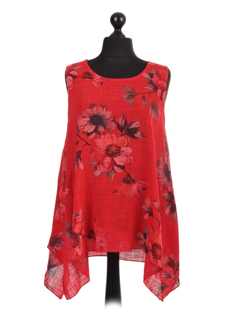 Italian Floral Print Sleeveless Tunic Tops