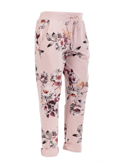 Italian floral print trouser- color nude