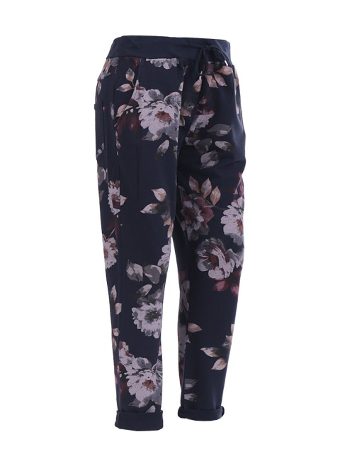 Italian floral print trouser- color navy