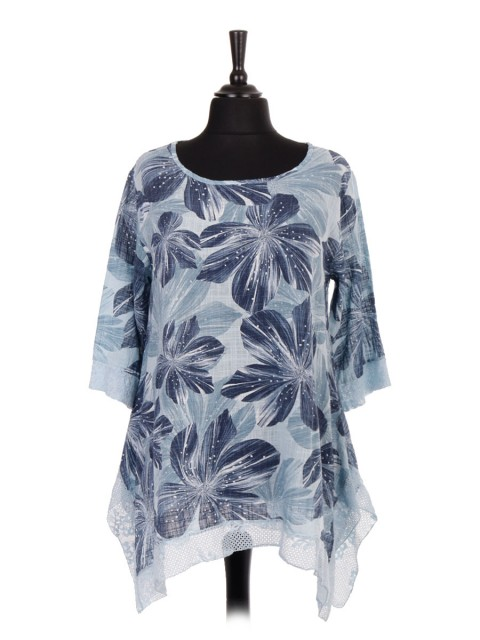 Italian Floral Print Tunic Top With Lace Detail