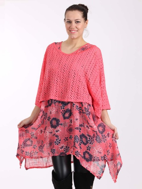 Italian Floral Print Two Pieces Linen Top-Coral