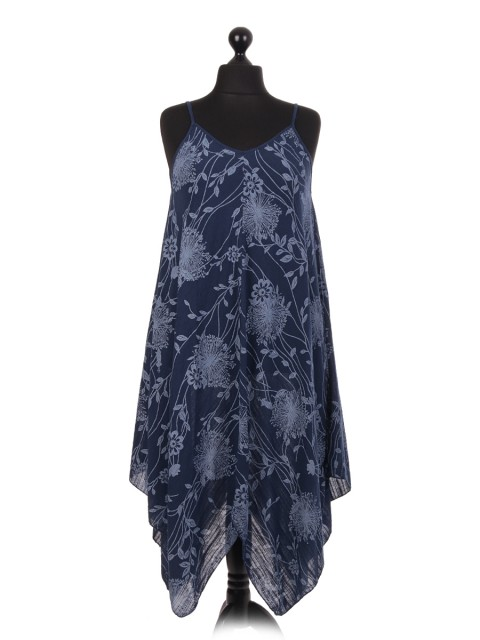 Italian Floral Printed Handkerchief Hem Dress
