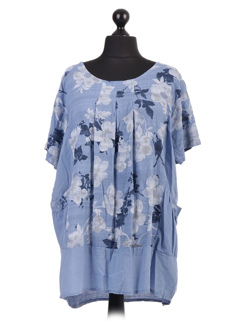 Italian Floral Print Pleated Top With Front Pockets