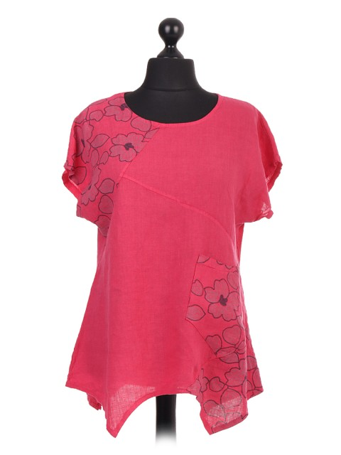 Italian Flower Embroidery Linen Top