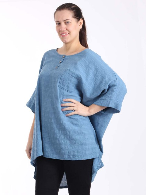 Italian Front Button Plain Cotton Top with Side Slit-Denim 1