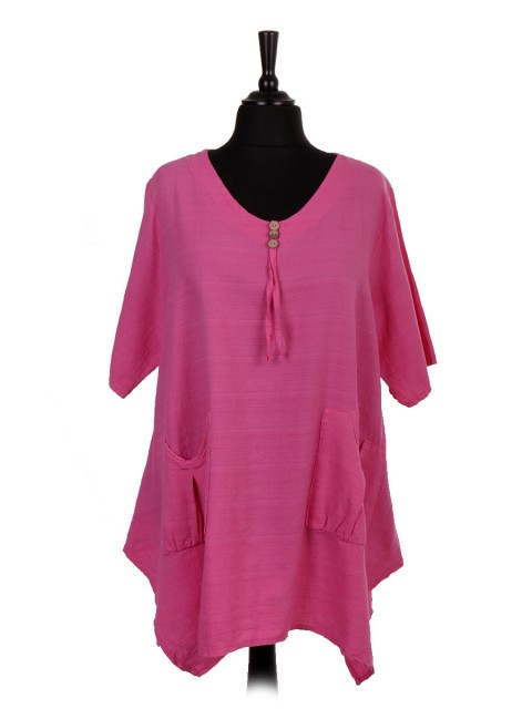 Italian Front Pockets Tunic Top With Button Detail