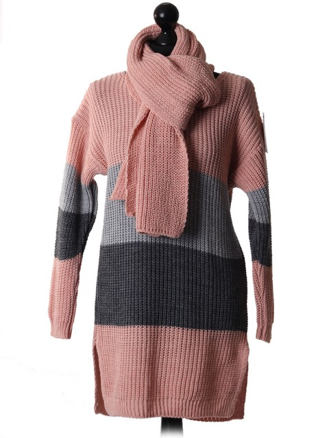 Italian Stripy Knitted Top Pink