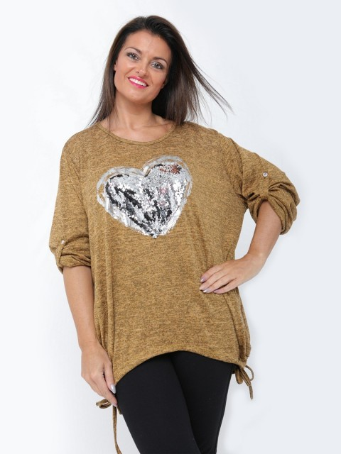 Italian Heart Sequin Lagenlook Top