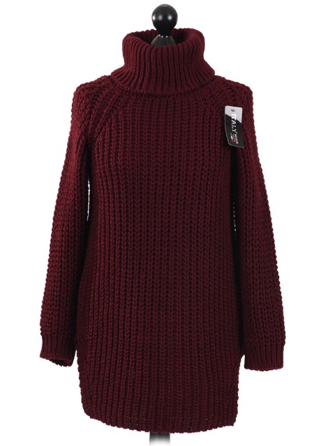 Italian High Neck Chunky Knitted Jumper- maroon