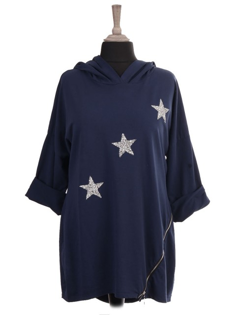 Italian Hooded Diamante Stars Top With Side Zip Detail