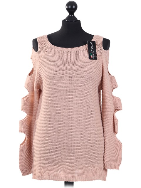 Italian Knitted Cold Shoulder Top Nude