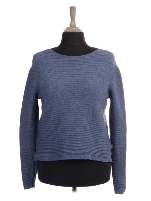 Italian Knitted High Low Ribbed Crop Jumper