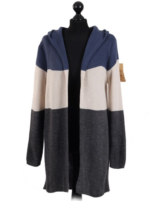 Italian Knitted Stripy Hooded Jumper Denim