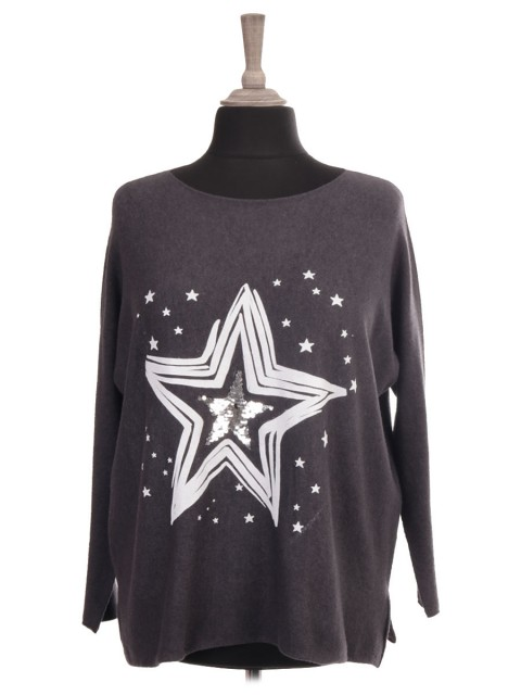 Italian Knitted Sequin Star Jumper with Side split