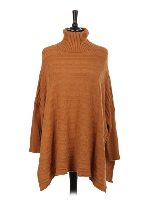 Italian Knitted Turtle Neck Side Split Jumper