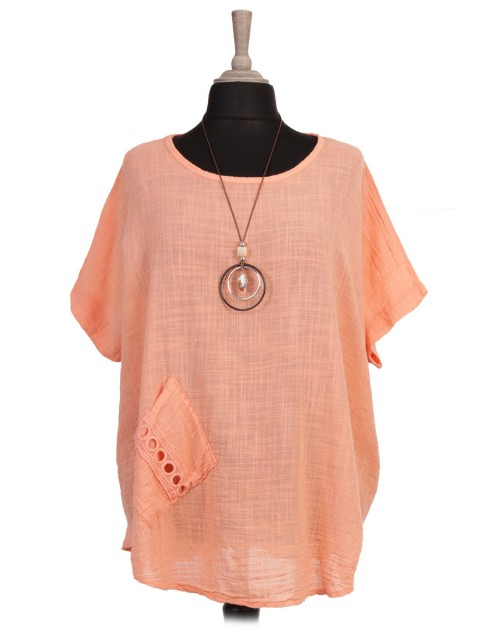 Italian Lace Detail Front Pocket Batwing Top with Necklace