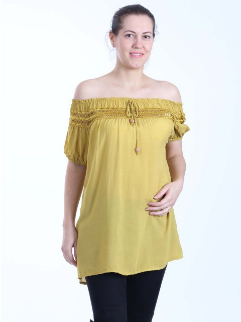 Italian Lace Top Off Shoulder Lagenlook Top With Front Tassels