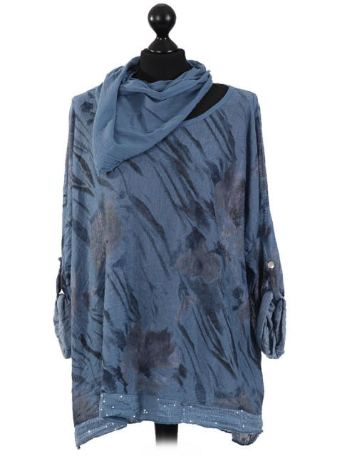 Italian Print Sequined Hem Top with Scarf-Navy