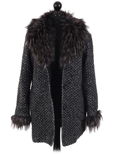 Italian Ladies Woollen Fur Coat with Side Pockets black