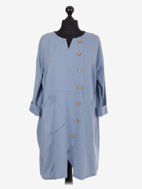 Italian Lagenlook Dress With Button Panel