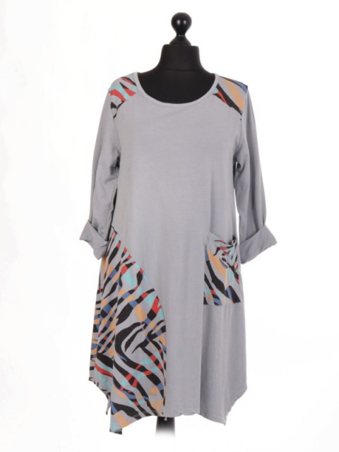 Italian Lagenlook Dress With Printed Panel And Front Pocket