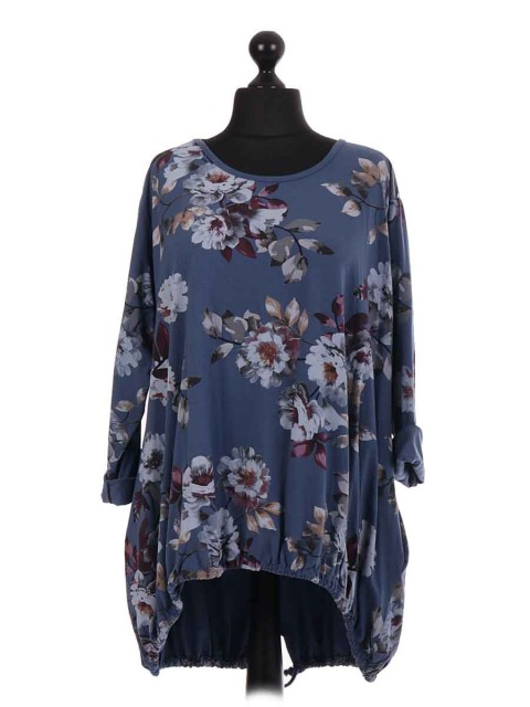 Italian Lagenlook Floral Gathered Hem Top