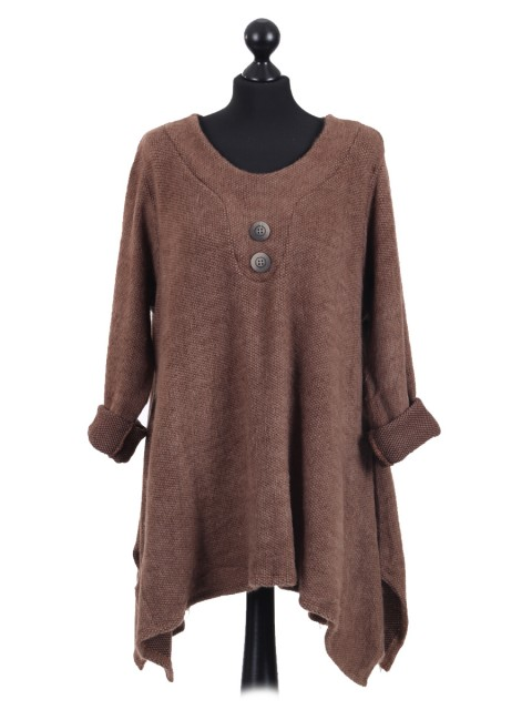 Italian Lagenlook Front Button Tunic Top camel
