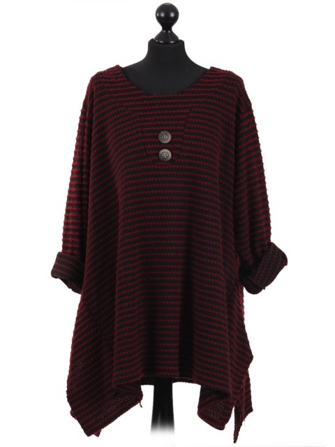 Italian Ladies Lagenlook Stripe Knitted Tunic Top Wine
