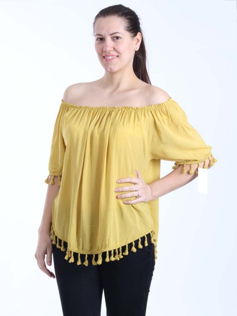Italian Lagenlook Off Shoulder Pom Pom Hem Top-Mustard 1