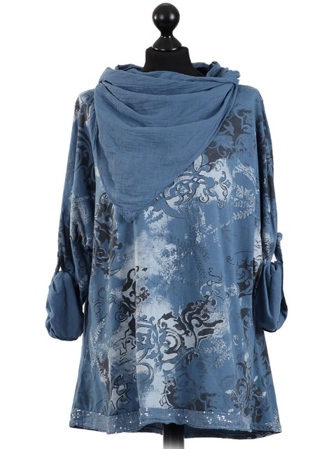 Italian Lagenlook Printed Sequin Hem Tunic Top-Denim