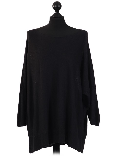 Italian Lagenlook Scoop Neck Batwing Black Top