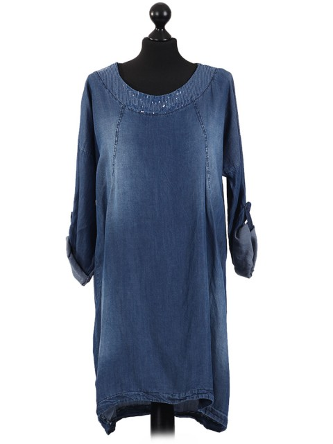 Italian Lagenlook Sequin Neck Denim Dress