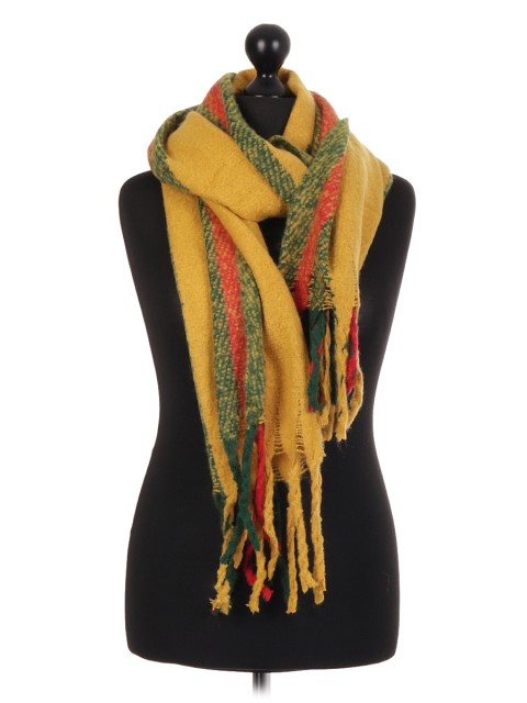 Lana Wool Mix Stripe Pattern Scarf