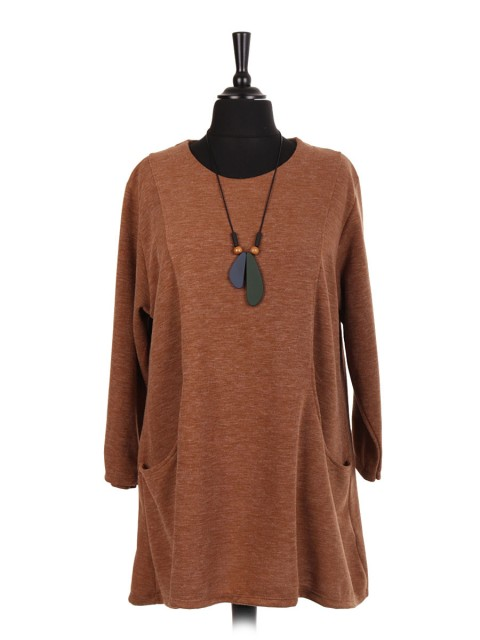 Italian Lana Wool Top With Front Pockets And Necklace