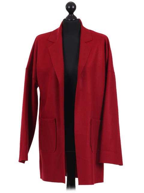 Italian Lapel Collar Long Sleeves Front Pocket Coat Maroon