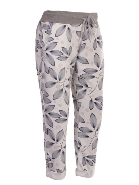 Italian Leaf Print Cotton Trouser