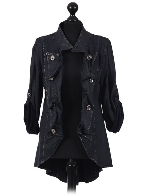 Italian Leather Effect Long Collar With Metal Buttons Jacket black