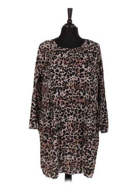 Italian Leopard Print Pleated Dress