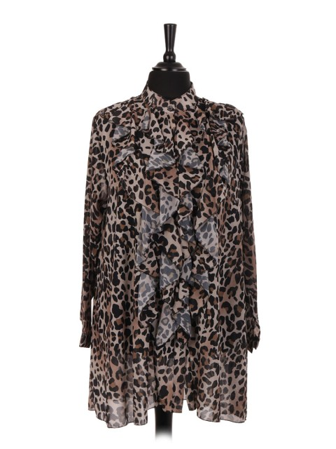 Italian Leopard Print Ruffle Blouse With Front Button Fastening