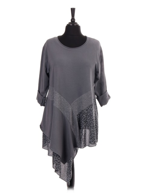 Italian Leopard Print Silk Assymetric Hem Tunic Dress