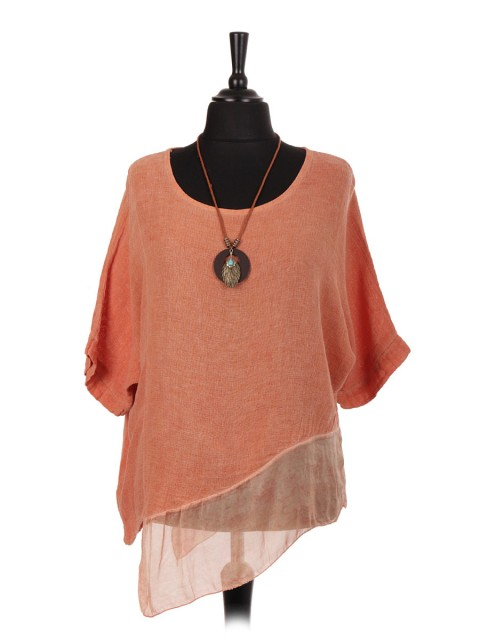 Italian Linen Assymetrical Chiffon Hem Batwing Top with Necklace