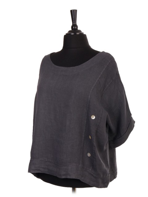 Italian Linen Batwing Crop Top With Side Button Panel