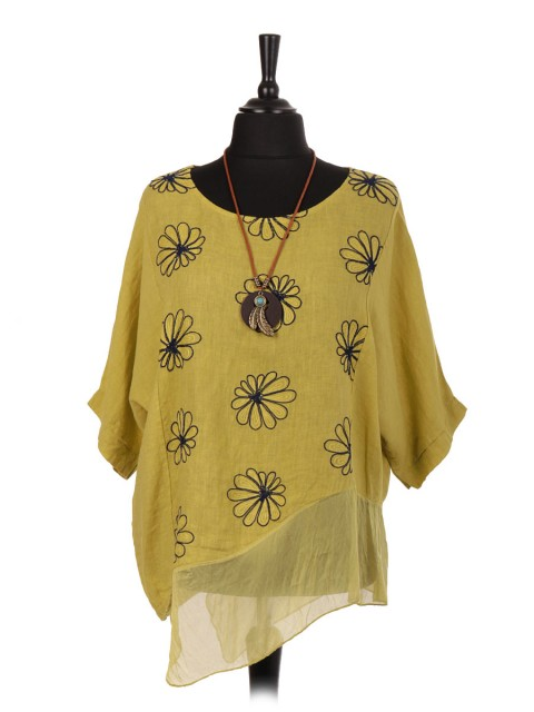Italian Linen Embroidered Asymmetrical Hem Top with Necklace