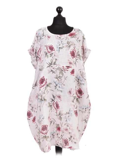 Italian Linen Floral Print Lagenlook Dress