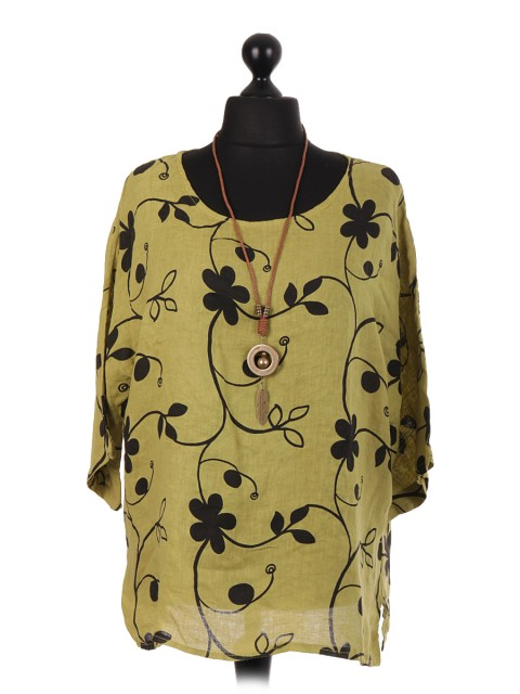Italian Linen Floral Print Top With Necklace