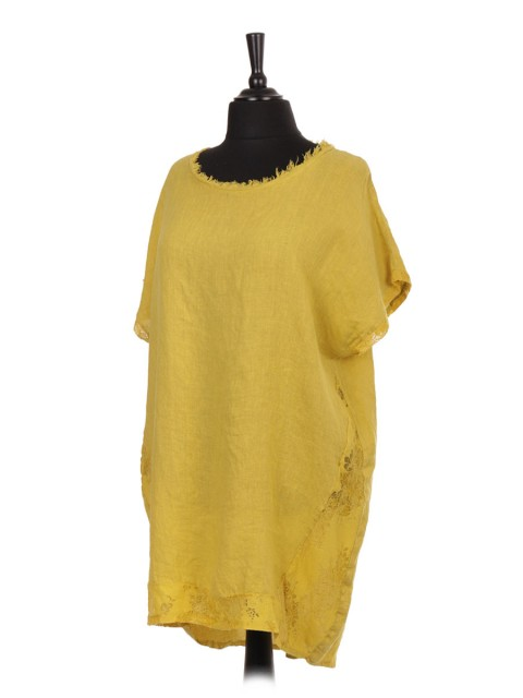 Italian Linen Lace Panel Lagenlook Dress With Back Split mustard