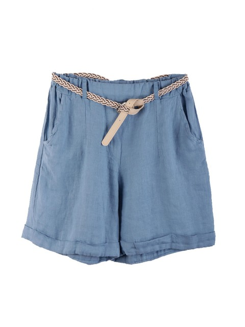 Italian Linen Shorts With Side Pockets And Waist Belt